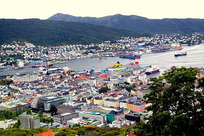 Photograph - Panoramic View Of Bergen From Mr. Floyen by Laurel Talabere