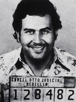 Black Photograph - Pablo Escobar Mug Shot 1991 Vertical by Tony Rubino