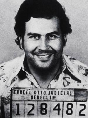 Pop Art Royalty-Free and Rights-Managed Images - Pablo Escobar Mug Shot 1991 Vertical by Tony Rubino