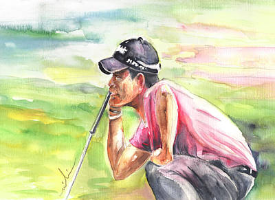 Pablo Drawing - Pablo Larrazabal Winning The Bmw Open In Germany In 2011 by Miki De Goodaboom