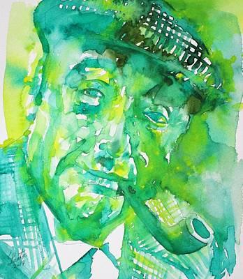 Painting - Pablo Neruda - Watercolor Portrait.9 by Fabrizio Cassetta