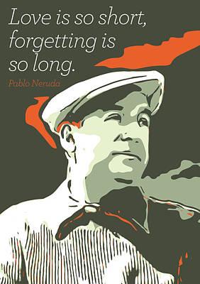 Pablo Neruda Art Print by Greatom London