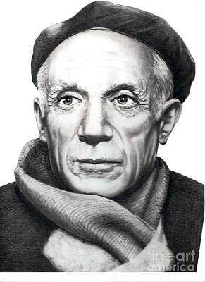 Famous People Drawing - Pablo Picasso by Murphy Elliott