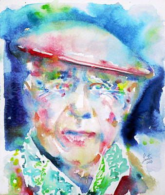 Pablo Picasso - Watercolor Portrait.4 Art Print