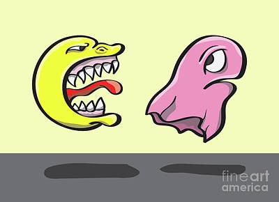 Pac Man And Ghost Illustration Art Print by Jorgo Photography - Wall Art Gallery