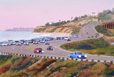 Torrey Pines Painting - Pacific Coast Hwy Del Mar Dusk by Mary Helmreich
