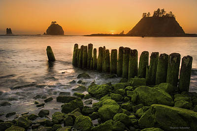 Photograph - Pacific Dreams - First Beach Piers by Expressive Landscapes Fine Art Photography by Thom