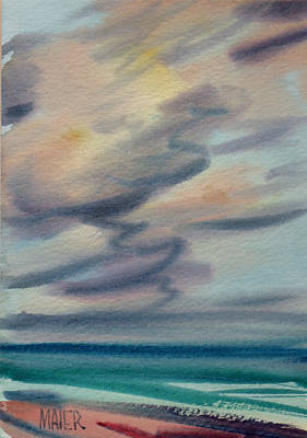 Ocean Watercolors Painting - Pacific Evening by Donald Maier