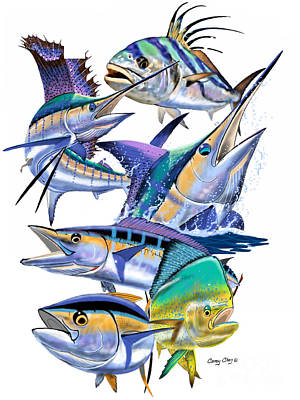 Pacific Gamefish  Art Print by Carey Chen