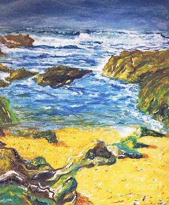 Painting - Pacific Grove Rocky Beach And Ocean by Stanley Morganstein