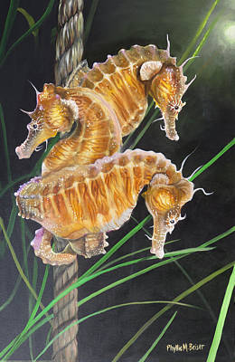 Pacific Lined Seahorse Trio Art Print by Phyllis Beiser