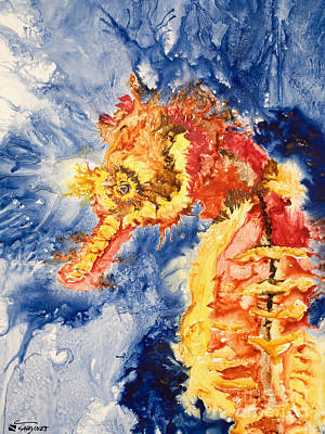 Medium Blue Painting - Pacific Seahorse by Tanya L Haynes - Printscapes