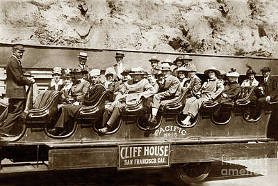 Photograph - Pacific Siteseeing Co Bus No. 15 With A Load Of Tourists On Point 1919 by California Views Archives Mr Pat Hathaway Archives