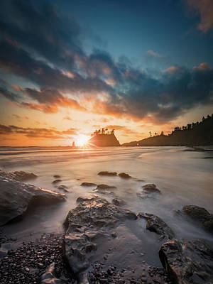 Photograph - Pacific Sunset At Olympic National Park by William Freebilly photography