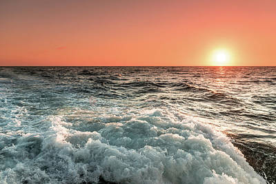 Photograph - Pacific Sunset With Boat Wash by Jeremy Farnsworth