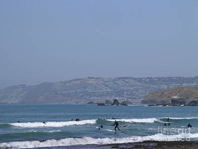 Art Print featuring the photograph Pacifica Surfing by Cynthia Marcopulos