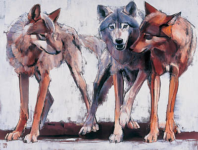 Wolf Wall Art - Painting - Pack Leaders by Mark Adlington