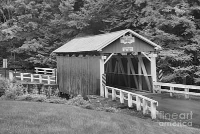 Photograph - Pack Saddle Covered Bridge Black And White by Adam Jewell