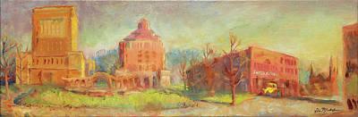 Oil Painting - Pack Square Asheville by Lisa Blackshear