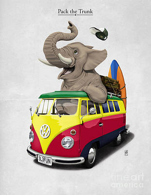 Rasta Digital Art - Pack The Trunk by Rob Snow