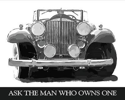 Digital Art - Packard Ask The Man Bw by David King