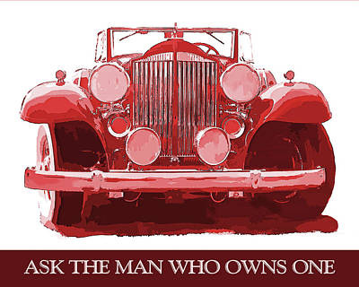 Digital Art - Packard Ask The Man Red by David King