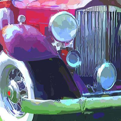 Spare Tire Digital Art - Packard Close Up Pop by David King