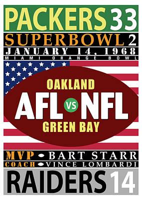 Packers 33 Raiders 14 Super Bowl 2 Art Print