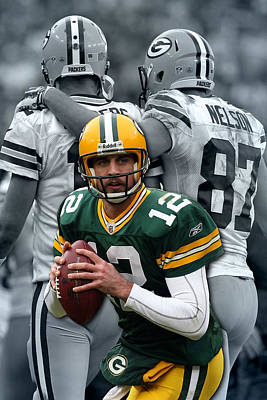 Packers Aaron Rodgers Art Print by Joe Hamilton