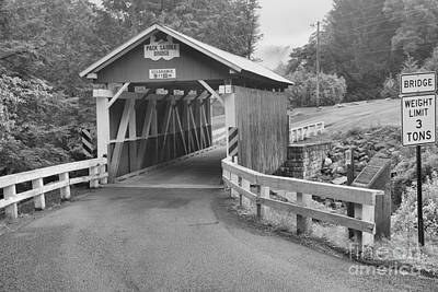 Photograph - Packsaddle Covered Bridge Black And White by Adam Jewell