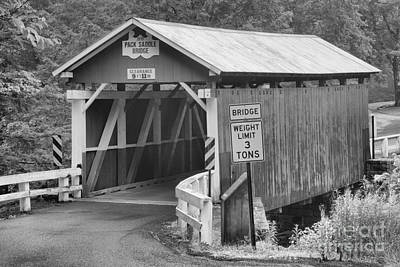 Photograph - Packsaddle Covered Bridge Landscape Black And White by Adam Jewell