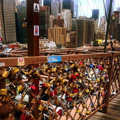 pad lock Brooklyn bridge the  Art Print by Todd Williams