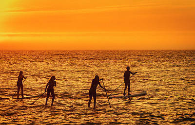 Photograph - Paddelboarding At Sunrise by David Kay