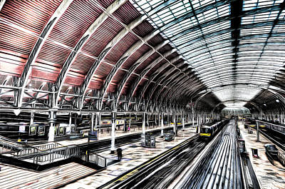 Photograph - Paddington Station London Sketch by David Pyatt