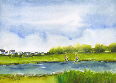Painting - Paddle Boarding At Pawleys Island by Frank Bright