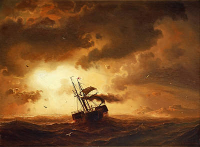 Larson Painting - Paddle Boat On Sea by Marcus Larson