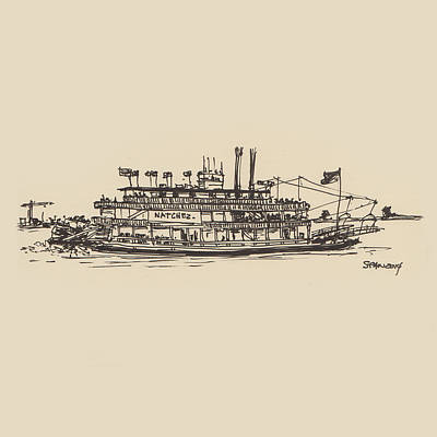 Drawing - Paddle Boat by Sean McMenemy
