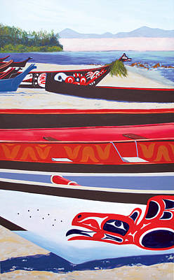 First Tribes Painting - Paddle In First Nations At Neah Bay by Marcie Ann Long