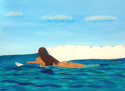 Painting - Paddle Out Surfer Girl by Jennifer Lindquist