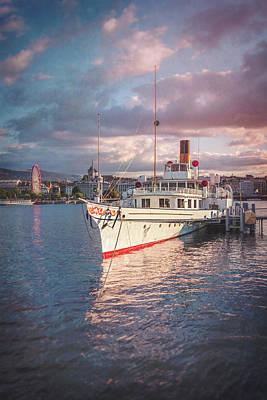 Paddler Wall Art - Photograph - Paddle Steamer Simplon Lake Geneva Switzerland by Carol Japp
