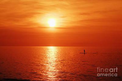 Paddle Surfer Sunset Art Print by Vince Cavataio - Printscapes