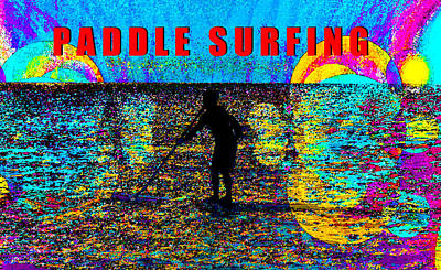 Painting - Paddle Surfing Poster Red by David Lee Thompson