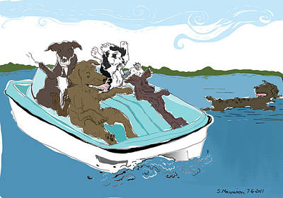 Cartoon Drawing - Paddle To The Sea by Susie Morrison