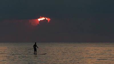 Photograph - Paddleboarder Sunrise 2 Delray Beach Florida by Lawrence S Richardson Jr