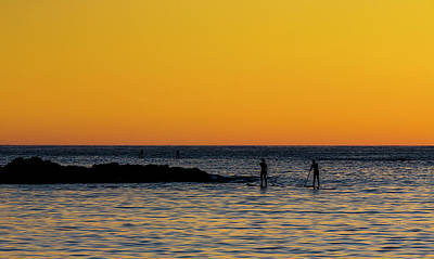 Paddleboarding  - Mackinzie Beach Yellow Sunset Art Print
