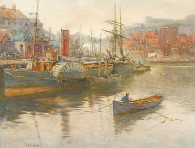 Paddler Steamer And Other Vessels Print by George Stevens
