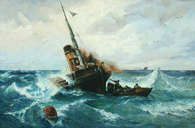 German Art Painting - Paddlesteamer In Stormy Weather by Andreas Achenbach