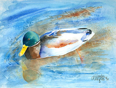 Mallard Ducks Painting - Paddling Along by Arline Wagner