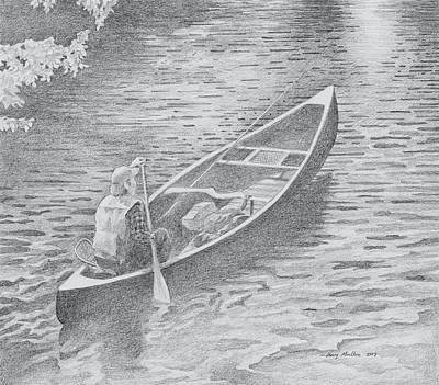 Drawing - Paddling by Harry Moulton