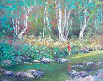 Landscape With Creek Painting - Paddling In The Creek 2 by Jan Matson